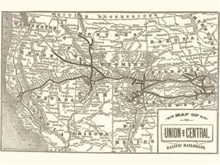 Map of the Union and Central Railroad, 1865
