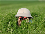 Little boy with binoculars and safari Hat, laying in the grass searching for new digital asset management system features - DAM concept