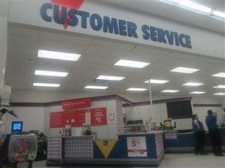 "Company with a ""customer service"" sign."