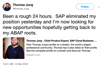screen grab of Thomas Jung Tweet announcing he was laid off by SAP