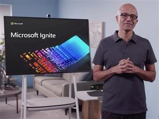 Satya Nadella delivering virtual  Ignite keynote in 2020