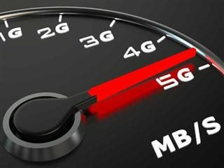 Automobile gauge showing Internet download speed