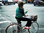 texting on a bicycle