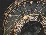 close up of a clock face in Prague