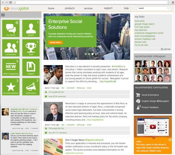 newsgator, social sites, internal communications, social business, enterprise 2.0