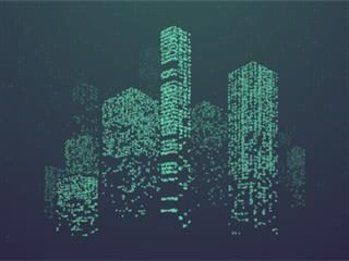 A green cityscape abstract created in data dataset concept