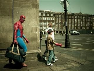 spiderman is late for work