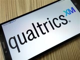 Qualtrics logo on the home screen of a smartphone.