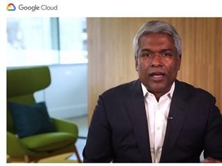 Google Cloud CEO Thomas Kurian delivering  online keynote for Google Cloud Next OnAir 2020