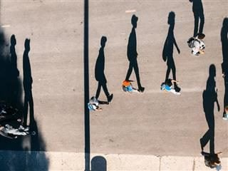 shadows of people walking as viewed from above