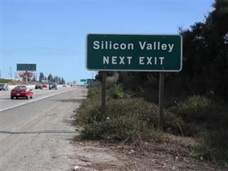 """Highway exit that reads, """"Silicon Valley Next Exit"""""""
