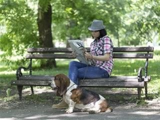 A woman sits on a bench in the park with her dog. The woman is reading the newspaper.