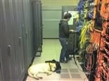 working in a data center with a sleeping dog
