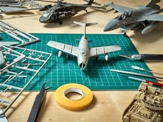 toy airplane model being created