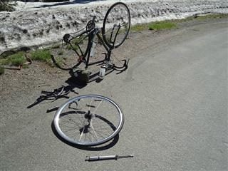 A bike is in pieces as someone caught an unfortunate flat tire on Mt. Rainier