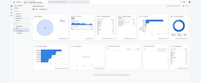 Google Analytics tech overview report