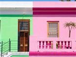 green house and pink house next to each other