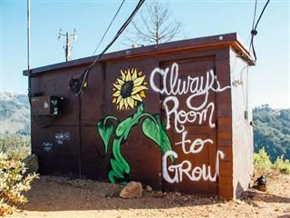 "dumpster planter with phrase ""always room to grow"" on side"