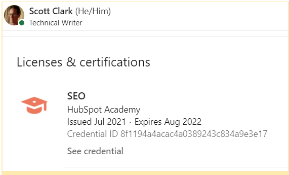 A picture of a HubSpot certification credential