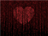 A digital heart made of 1s and 0s.  - Data is the heart  of the workplace concept