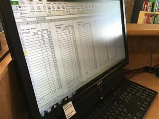 close up of Excel spreadsheet on a computer