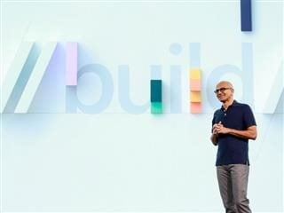 Satya Nadella delivering the keynote at Microsoft's Build 2019