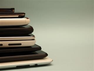 stack of digital devices