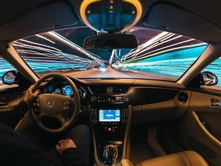 time lapse image of driving a car at night