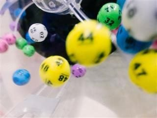 close up of lottery balls in a machine