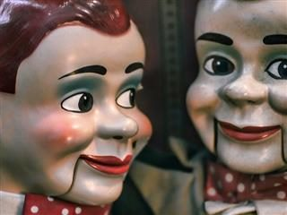 two Jerry Mahoney dolls, famous 1940s ventriloquist dummies