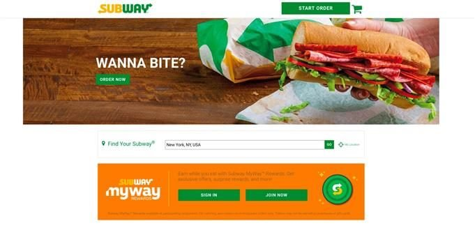 Screenshot of Subway's website, powered by Sitecore.
